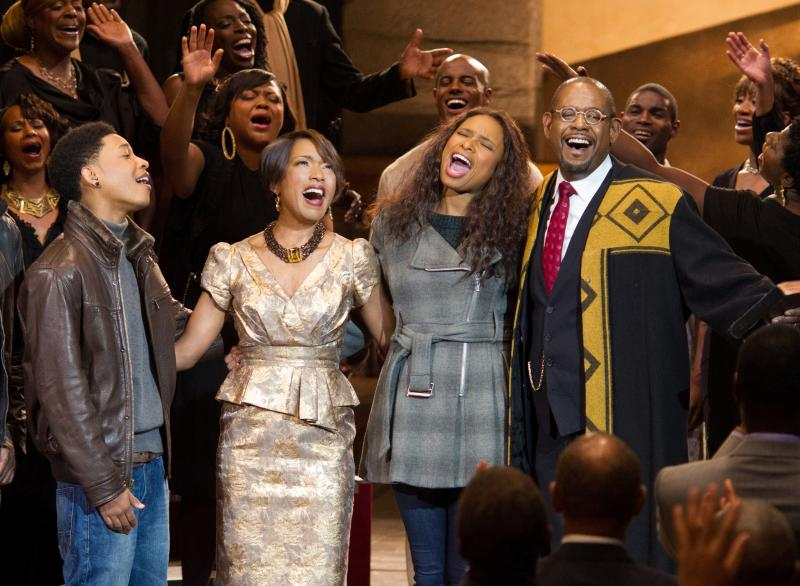 Jacob Latimore, Angela Bassett, Jennifer Hudson, and Forest Whitaker in BLACK NATIVITY.