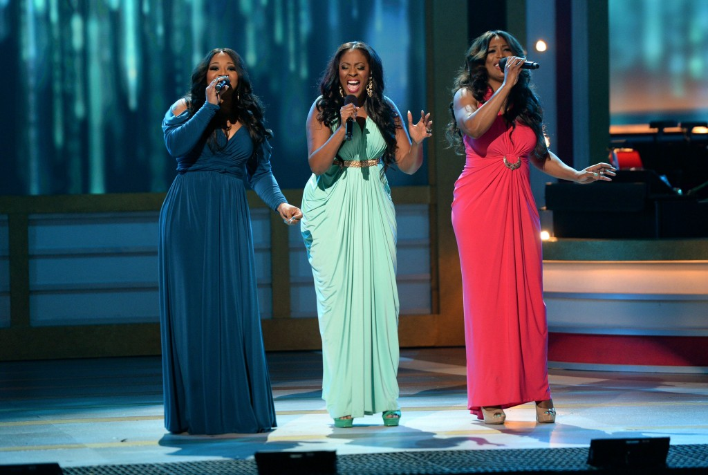 The Grammy nominated trio SWV performing onstage
