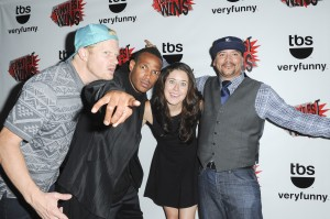 Marlon with Funniest Wins contestants Matt McManus, Manon Matthews and Key Lewis