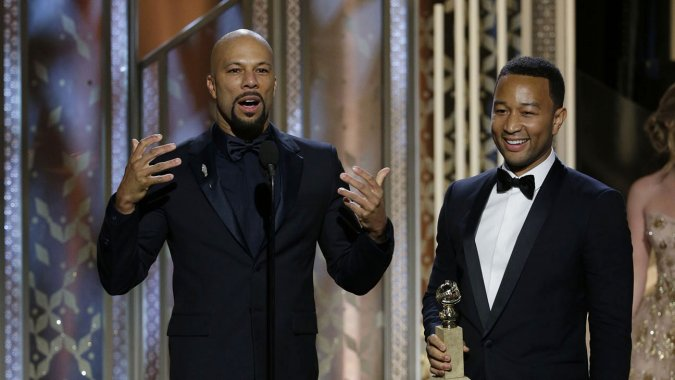 Common and John Legend on stage at the Beverly Hilton - Paul Drinkwater:NBC
