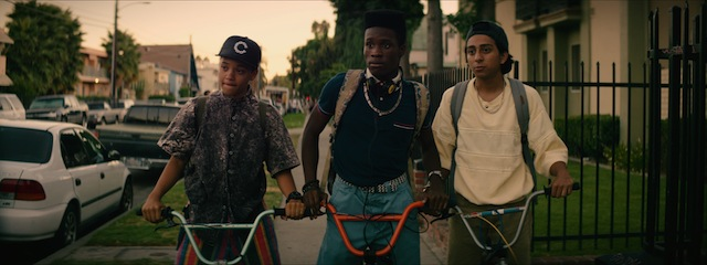 Left to right) Kiersey Clemons as Diggy, Shameik Moore as Malcolm, and Tony Revolori as Jib