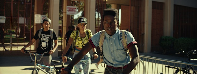 (Left to right) Tony Revolori as Jib, Kiersey Clemons as Diggy and Shameik Moore as Malcolm in DOPE - Photo credit Rachel Morrison
