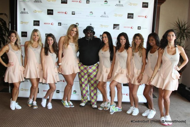 Cedric poses with his golf ambassadors  before they escort him to the greens to
