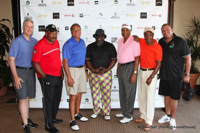 From Left to Right)- Alex Kaminsky, Jim Brown, Jim Plunkett, Cedric The Entertainer, Frank Robinson, Sugar Ray Leonard and Bill Hammond