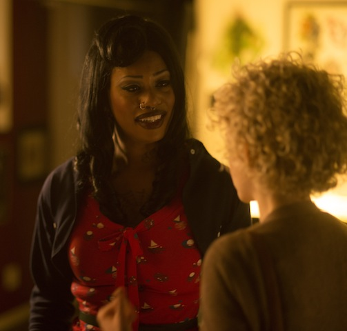 Left to right- Laverne Cox as Deathy and Julia Garner as Sage Photo by Glen Wilson