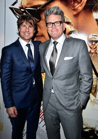 Tom Cruise and  MI5 director Christopher McQuarrie attend the Canadian Fan Premiere