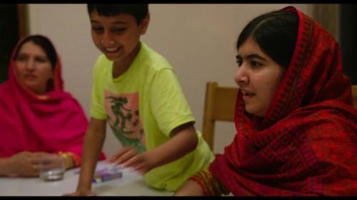 (From L-R) Toor Pekai Yousafzai, Atal Yousafzai and Malala Yousafzai in Birmingham, England. July 10, 2014. Photo courtesy of Fox Searchlight