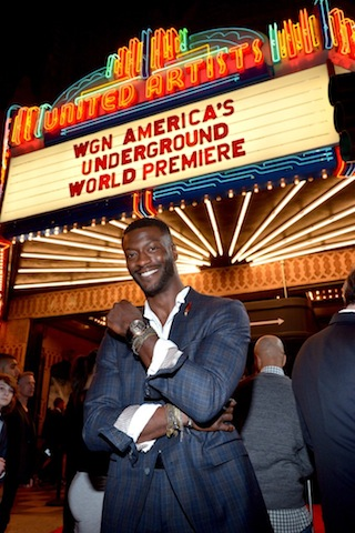 Aldis Hodge attends WGN America's 'Underground' World Premiere - Credit, Charley Gallay - Getty Images