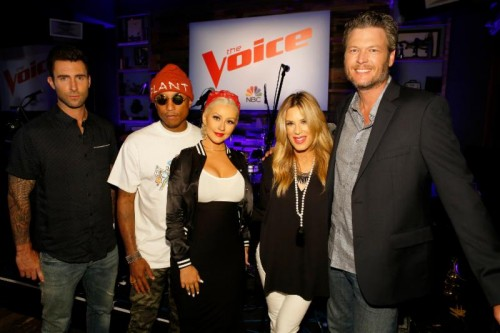 Adam Levine, Pharrell Williams, Christina Aguilera, Ellen K, Blake Shelton