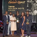 Rapper Ali Shaheed Muhammad of A Tribe Called Quest, DJ Rasta Root, Cheryl Boyce-Taylor, mother of the late rapper Phife Dawg, rapper Q-Tip of A Tribe Called Quest, ASCAP SVP of Membership Nicole George Middleton, and rapper Jarobi White of A Tribe Called Quest accept the ASCAP Golden Note Award