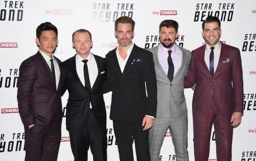 (L-R) John Cho, Simon Pegg, Chris Pine, Karl Urban and Zachary Quinto