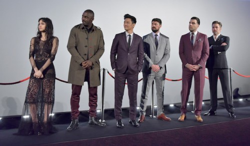 L-R) Sofia Boutella, Idris Elba, John Cho, Karl Urban, Zachary Quinto