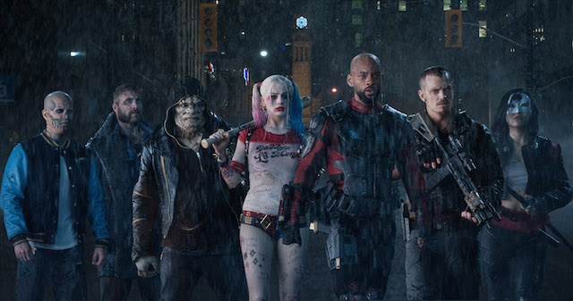L-r) JAY HERNANDEZ as Diablo, JAI COURTNEY as Boomerang, ADEWALE AKINNUOYE-AGBAJE as Killer Croc, MARGOT ROBBIE as Harley Quinn, WILL SMITH as Deadshot, JOEL KINNAMAN as Rick Flag and KAREN FUKUHARA as Katana