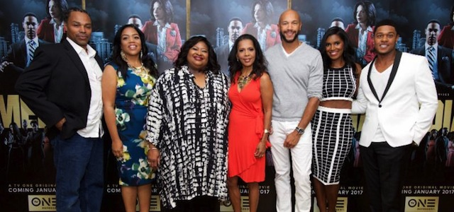 L-r -Media director Craig Ross Jr.,   Media producers Sheila Ducksworth and Susan Henry Banks, and Cast of TV One's  Media Penny Johnson Jerald, Stephen Bishop, Denise Boutte and Pooch Hall