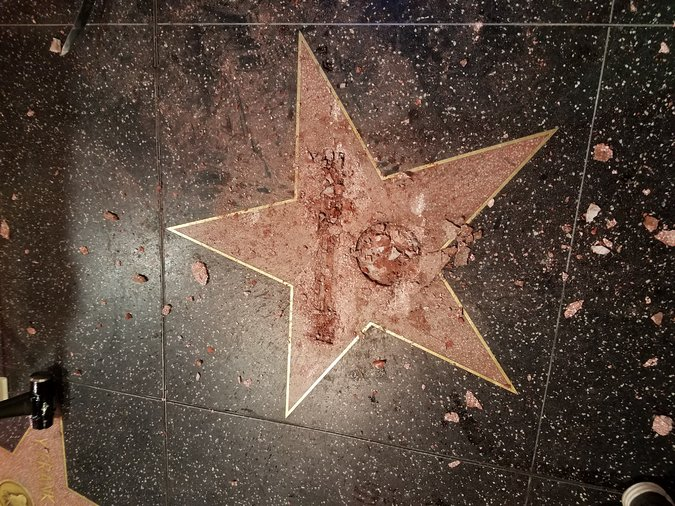 Donald Trump's star on the Hollywood Walk of Fame was destroyed