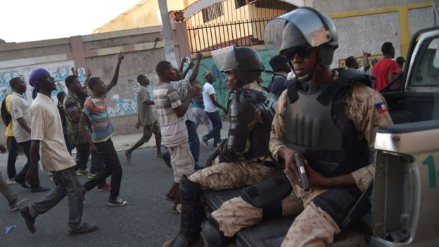 Haitian police are prepared for further unrest following the election results - AFP