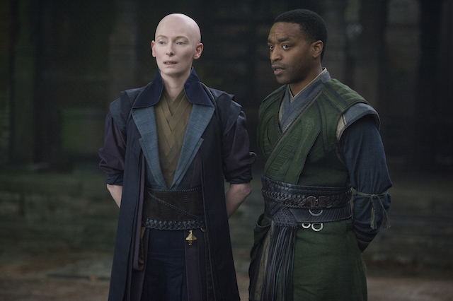 Karl Mordo (Chiwetel) and the Ancient One (Tilda Swinton)