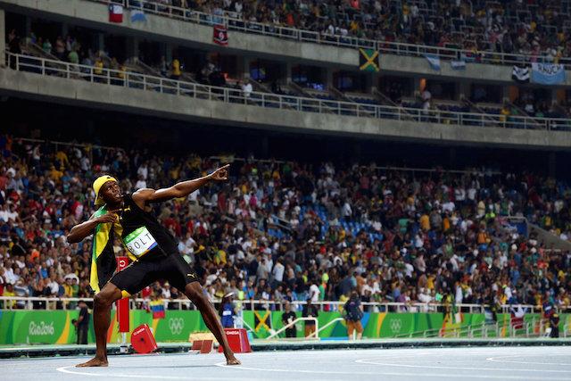 Usain Bolt doing his signature pose