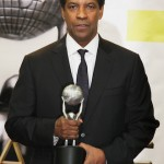 Denzel Washington backstage with his BEST ACTOR accolade for Fences