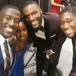 Samantha Ofole-Prince backstage with actors Kwesi Boakye, Kofi Siriboe and Kwame Boateng