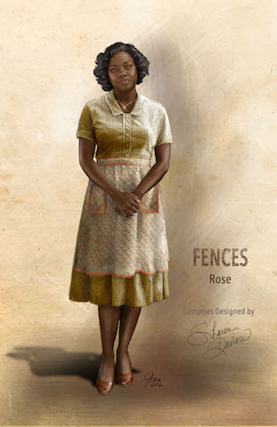 Davis' sketches of Viola's character Rose from Fences