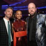 L-R) Actors Sean Gunn, Zoe Saldana and Chris Sullivan