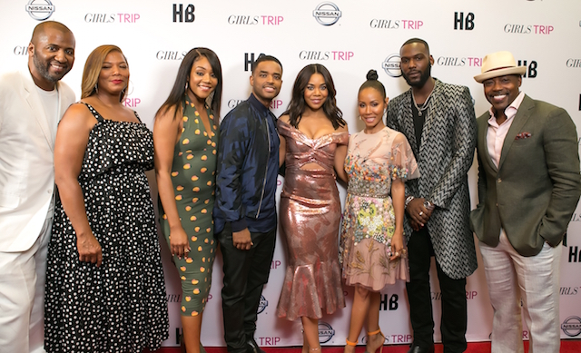 Girls Trip movie cast Malcom Lee, Queen Latifah, Tiffany Haddish, Larenz Tate, Regina Hall, Jada Pinkett Smith, Kofi Siriboe, and Will Packer