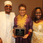 Karen Bass (center) with her Lifetime membership plaque