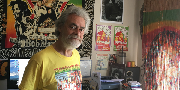Roger Steffens at the Reggae Archives, July 2017, Los Angeles, California | Courtesy of Stephen A. Cooper