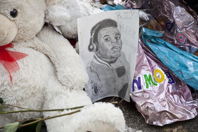 A memorial for Michael Brown Jr. in Ferguson