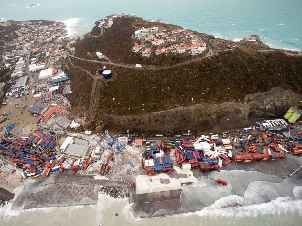 A view of the aftermath of Hurricane Irma on Sint Maarten Dutch part of Saint Martin island in the Caribbean, Sept. 6, 2017