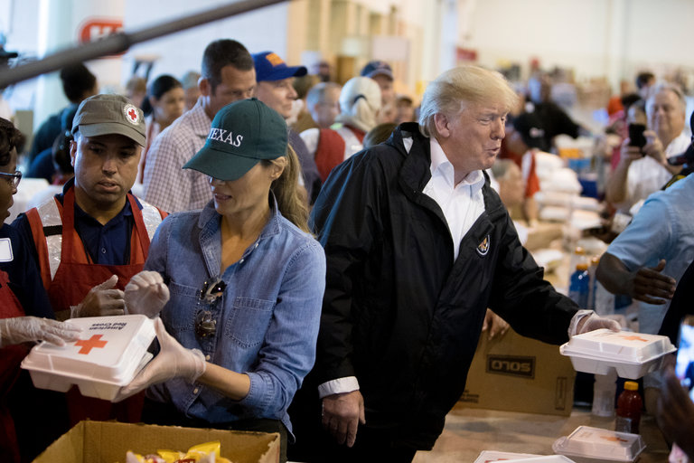 President Trump and the first lady, Melania Trump, met with individuals affected by Hurricane Harvey inside the NRG Center in Houston. Credit Tom Brenner:The New York Times