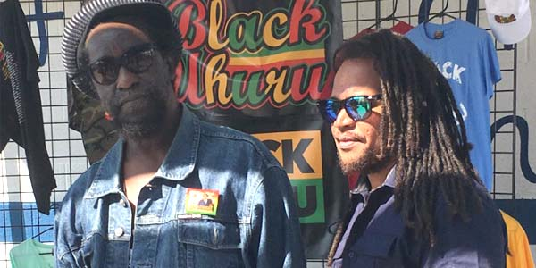 Black Uhuru's Duckie Simpson and Andrew Bees at the Moto Beach Classic, Orange County, California | Courtesy of Stephen A. Cooper