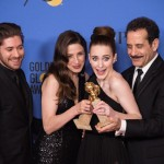 BEST TELEVISION SERIES - MUSICAL OR COMEDY for The Marvelous Mrs. Maisel ) are Michael Zegen, Marin Hinkle, Rachel Brosnahan and Tony Shalhoub