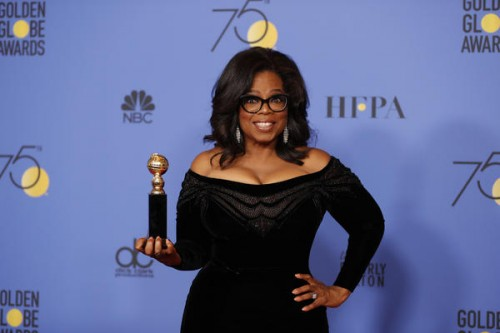 Oprah Winfrey and her  Cecil B. DeMille Award