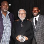 AAFCA founders Gil Robertson (left) and Shawn Edwards (right) with AAFCA Award recipientEdward James Olmos (middle)