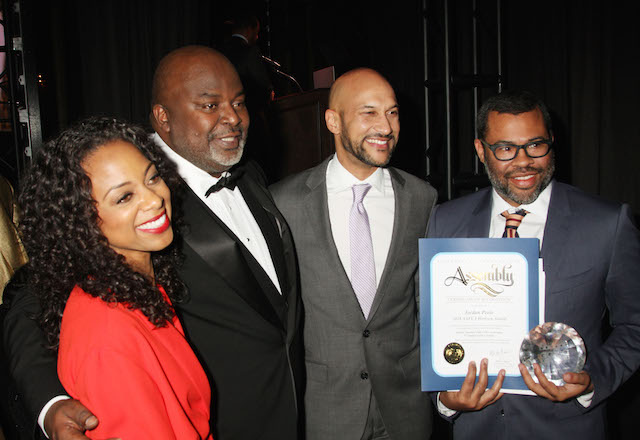 AAFCA host  Nischelle Turner​,  AAFCA co-founder Gil Robertson, Keegan-Michael Key and Get Out director Jordan Peele
