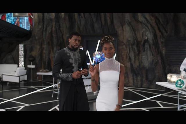 Chadwick Boseman aka T'Challa:Black Panther and Letitia Wright who plays Princess Shuri