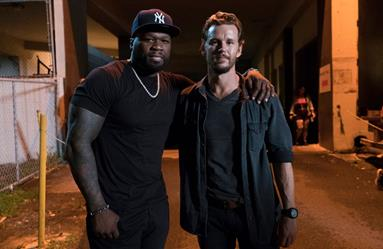 "Curtis ""50 Cent"" Jackson and Ryan Kwanten on the set of Crackle's ""The Oath"""