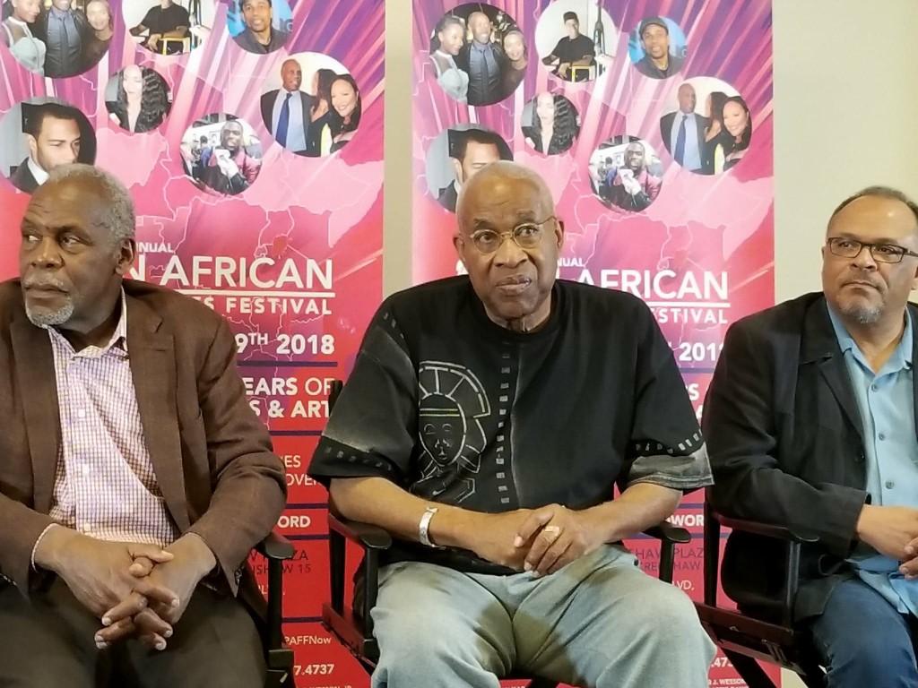 Danny Glover, Ayuko Babu and Alfons Adetuyi at the PAFF press conference