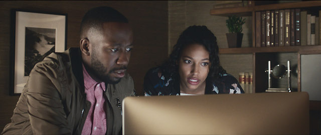 L-R) LAMORNE MORRIS as Kevin and KYLIE BUNBURY as Michelle in New Line Cinema's action comedy GAME NIGHT