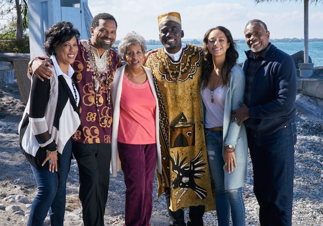 Love Jacked cast from L-r - Angela Gibbs, Mike Epps, Marla Gibbs, Shamier Anderson, Amber Stevens West, Keith David