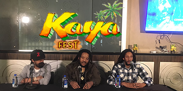 L to R: Damian, Stephen and Julian Marley at the press conference on March 12th at the Sunset Marquis in West Hollywood, CA