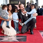 (L-R) Honoree Zoe Saldana, Marco Perego, and children