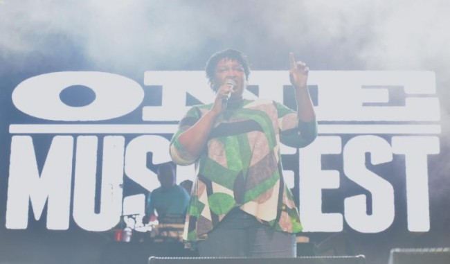 Democratic gubernatorial candidate Stacey Abrams encouraged the festival crowd to vote in November