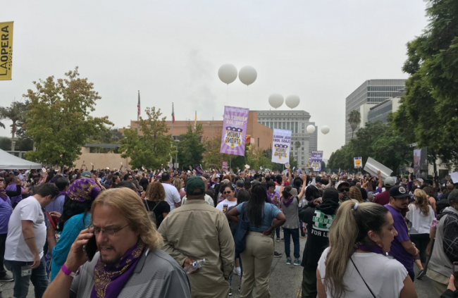 rally in downtown LA