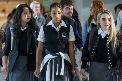 """Megan Lawless (l), Amandla Stenberg, and Sabrina Carpenter in a scene from """"The Hate U Give"""" (20th Century-Fox)"""