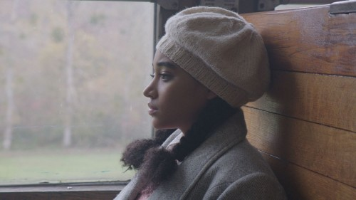 "Amandla Stenberg in a scene aboard a train from ""Where Hands Touch."" (© Tantrum Films)"