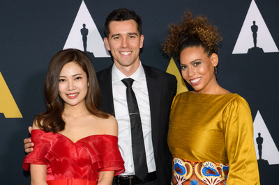 Narrative film winners Hua Tong (left), Brian Robau (center) and Kelley Kali prior to the 45th Annual Student Academy Awards® on Thursday, October 11, in Beverly Hills. (credit: Richard Harbaugh / ©A.M.P.A.S.)