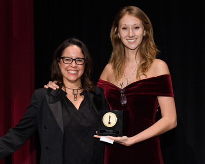 """Patricia Riggen and Shae Demandt, winner of the gold medal in the alternative film category for """"Reanimated,"""" during the 45th Annual Student Academy Awards® on Thursday, October 11, in Beverly Hills. (credit: Matt Petit / ©A.M.P.A.S.)"""